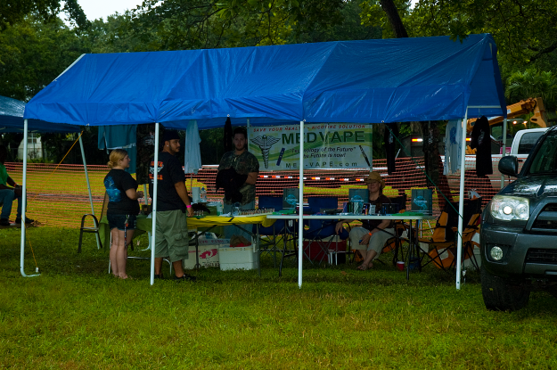 MedVape Booth prepares for the rain and TruckShow2