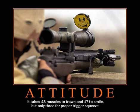 It takes 43 muscles to frown and 17 to smile, but only three for proper trigger squeeze.