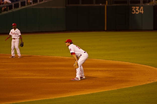 Chase Utley (2B) and Jimmy Rollins (SS)