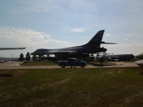 "B-1B ""Lancer"" contrasted size-wise with a pickup truc"